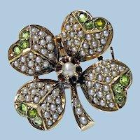 Antique Demantoid Pearl Gold Clover Pendant Brooch C.1890