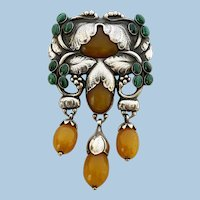 Exceptional Georg Jensen Large Rare Silver and Amber Malachite Master Brooch C.1933