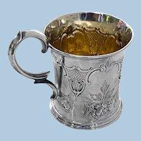 Antique Victorian Silver Mug, London 1872 Edward Ker Reid.
