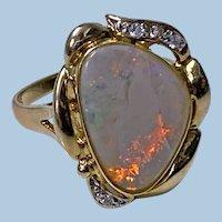 Opal Diamond 14K Ring 20th century