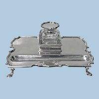 Antique Silver Inkstand Inkwell, London 1899 Goldsmiths and Silversmiths Co.