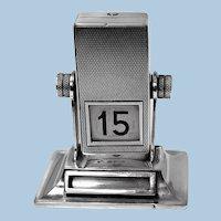 Rare English Sterling silver mechanical rotating desk calendar, London 1930