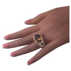 Mid century orange Zircon Ring 14K yellow gold and Silver, C.1960.