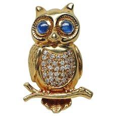 Diamond and Sapphire Owl Brooch Pin Boucheron 18K , 20th century