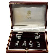 Asprey 18K Onyx and Diamond white gold Studs and links Tuxedo Set in fitted box