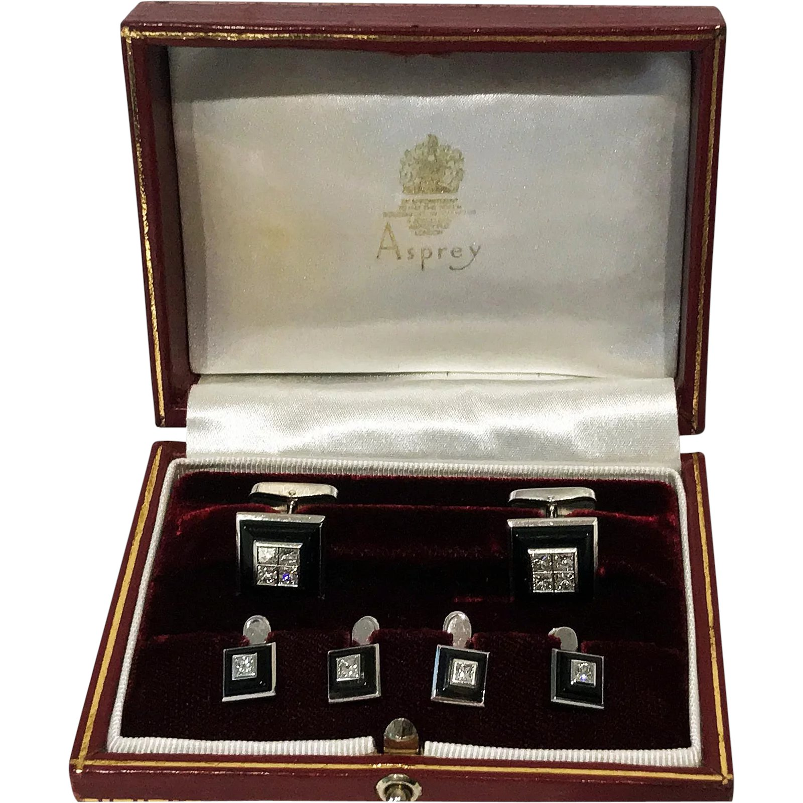 b960f0b711a7 Asprey 18K Onyx and Diamond white gold Studs and links Tuxedo Set in :  Louis Wine Antiques | Ruby Lane