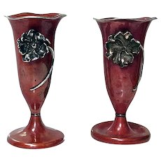 Pair Art Nouveau Mixed Metal Sterling and Copper Vases La Pierre New York C.1900