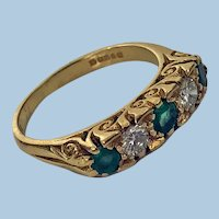 18K Emerald and Diamond 5 stone carved half hoop ring, 20th century