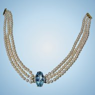 Cultured Pearl choker Necklace with Aquamarine and Diamond centrepiece
