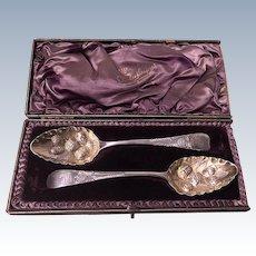 Exeter Georgian Silver Berry Spoons, Exeter 1801 Richard Ferris