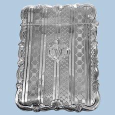 Antique Sterling Silver Card Case, Birmingham 1866 Hilliard and Thomason