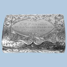 Rare Silver Vesta in form of clutch Purse Birmingham 1892 Thomas Hayes