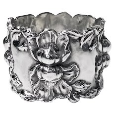 Sterling Serviette Ring embossed floral decoration C.1900