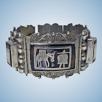 Large Vintage 1930's Mexican Sterling Silver inlay handmade Bracelet