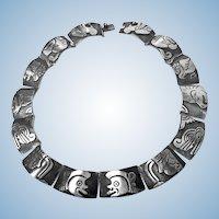 Gerardo Lopez 1950's Sterling Silver Aztec Deity Necklace.