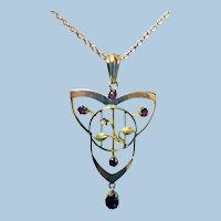 Art Nouveau Jugendstil Gold Pendant, C.1900.