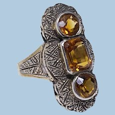 Theodor Fahrner attributed Art Deco Silver and orange stone Ring C.1920
