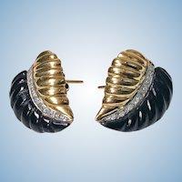 Pair of Gold Diamond Onyx Leaf  Earrings