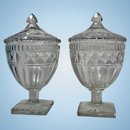 Georgian Cut Glass Anglo Irish Covered Urns Sweetmeats C.1800