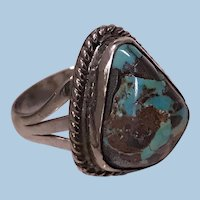 1950's Vintage Sterling Silver and Turquoise Navajo Ring, Size 6.
