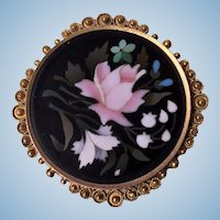 Antique 14K Gold Pietra Dura Brooch Pin, C.1870