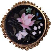 Antique 14K Gold Pietra Dura Brooch Pin, C.1870