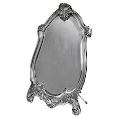 WMF Large Art Nouveau Silver on Pewter Mirror, Germany C.1900