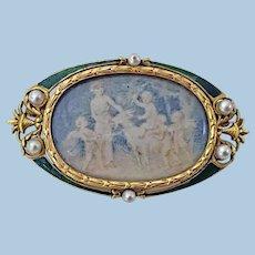 Boucheron Enamel Gold Pearl Portrait Brooch, C.1890