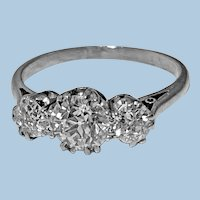 Antique Platinum Diamond Ring, C.1920