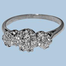 Antique Platinum Diamond Ring, C.1920