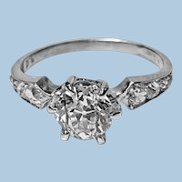 Antique Platinum Diamond Ring, C.1910
