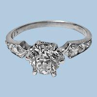 Antique Platinum Diamond Ring, C.1910