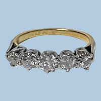 Antique 15 Karat Platinum Diamond Ring, circa 1920
