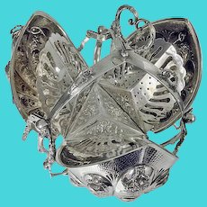 Rare 19th century Continental SILVER biscuit box of rare folding form C1890, not silverplate