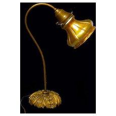 Fine Quezal Glass Desk Lamp, C.1910. Signed