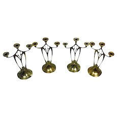 Set of 4 WMF Jugendstil Secessionist Art Nouveau Candelabra, Germany C.1900.