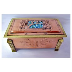 Arts and Crafts Enamel, Copper and Brass Box, C.1900