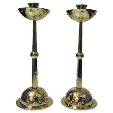 WMF Arts & Crafts Art Nouveau Jugendstil Candlesticks Germany C.1900.