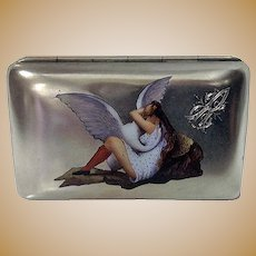 Silver Enamel Erotic Cigarette Case, probably Austria, C.1900