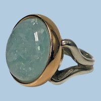 18K and Silver cabochon Aquamarine Ring