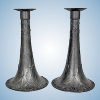 Pair of Kayserzinn pewter candlesticks, Germany C.1900