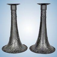 Pair of Kayserzinn pewter candlesticks, Germany C.1900