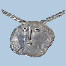 Walter Schluep handmade Sterling Silver Sun face Necklace.