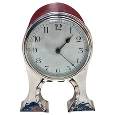 Arts and Crafts silverplate clock, English C.1900