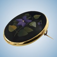Antique Pietra Dura 18K Gold Brooch, Italy C.1870.