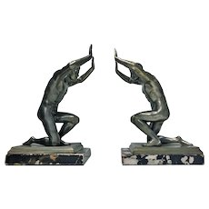 Pair of Art Deco Nude Bookends, France C.1930