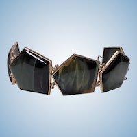 Mid century Scandinavian Gold and Labradorite Bracelet