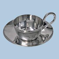 Rare Christopher Dresser designed Silver Miniature Cup and Saucer, 1892