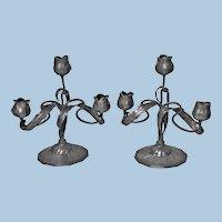 Art Nouveau Candelabra Candlesticks, Orivit, Germany C.1900