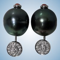 Pair 18K Diamond, Black Tahitian Pearl Earrings.